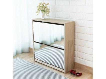 Botník dvoupatrový, zrcadlový, dub 63x17x67 cm