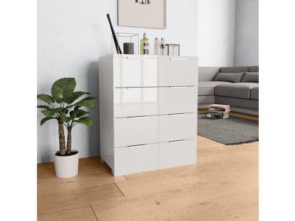 Příborník bílý s vysokým leskem 60 x 35 x 76 cm dřevotříska