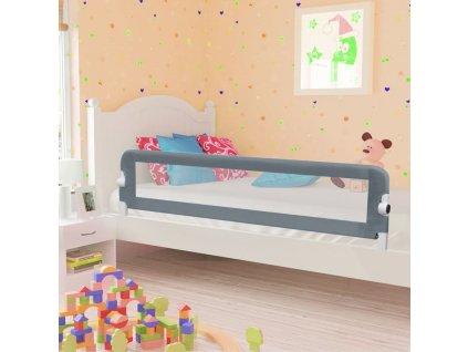 Dětská zábrana k postýlce šedá 180 x 42 cm polyester
