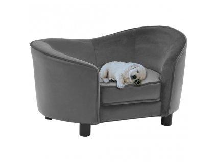 Pohovka pro psy šedá 69 x 49 x 40 cm plyš a umělá kůže