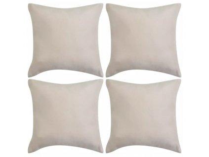 Povlaky na polštář 4 ks 80x80cm polyester umělý semiš béžová