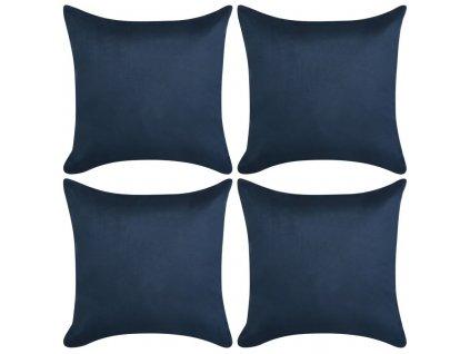 Povlaky na polštář 4ks 80x80cm PES umělý semiš námořnická modř