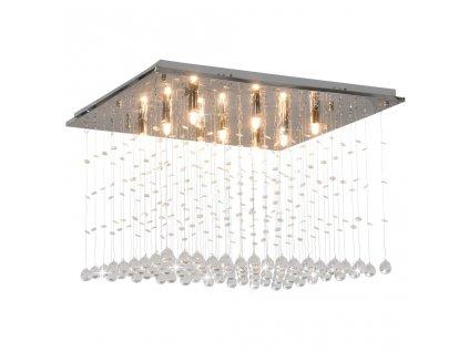 Stropní svítidlo s křišťálovými korálky stříbrné krychlové G9