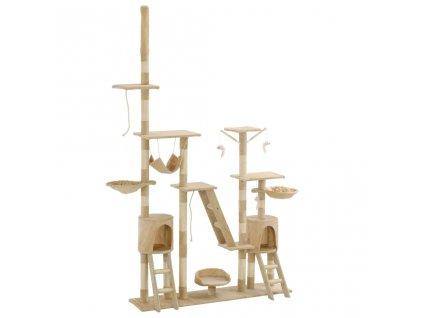Škrabadlo pro kočky se sisalovými sloupky 230-250 cm béžové