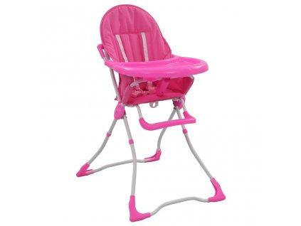 Dětská jídelní židlička růžovo-bílá