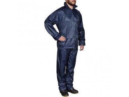 Pánský 2 dílný oblek do deště s kapucí - velikost L - námořnická modrá