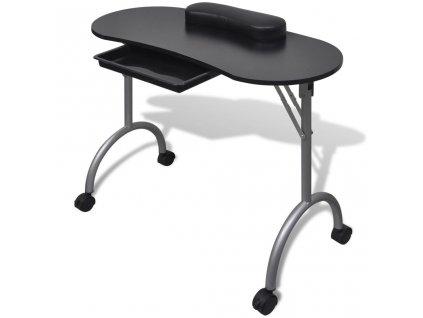 Skládací stolek na manikúru s kolečky černý