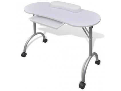 Skládací stolek na kolečkách na nehtovou manikúru bílý