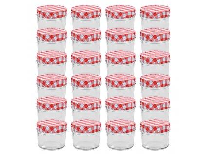 Zavařovací sklenice s bíločervenými víčky 24 ks 110 ml