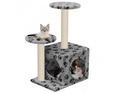 Škrabadlo pro kočky sisalové sloupky 60 cm šedé s potiskem