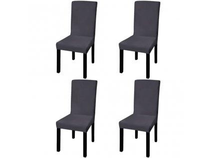 Hladké strečové potahy na židle 4 ks antracitové