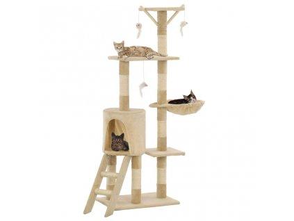Škrabadlo pro kočky se sisalovými sloupky 138 cm béžové