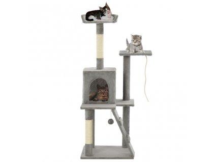 Škrabadlo pro kočky se sisalovými sloupky 120 cm šedé