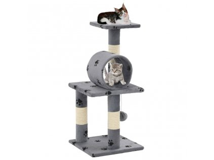 Škrabadlo pro kočky se sisalovými sloupky 65 cm šedé s tlapkami