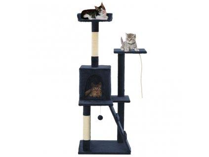 Škrabadlo pro kočky se sisalovými sloupky 120 cm tmavě modré
