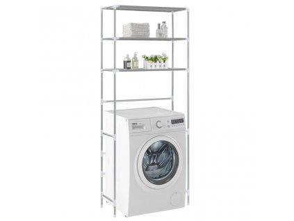 3patrový úložný regál nad pračku stříbrný 69 x 28 x 169 cm
