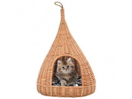 Domeček pro kočky s poduškou 40 x 60 cm přírodní vrba týpí