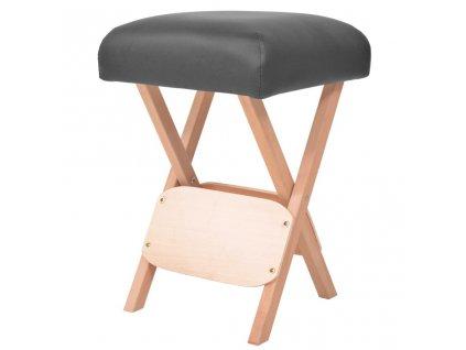 Skládací masážní stolička 12 cm silný sedák černá