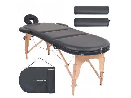 Skládací masážní stůl tloušťka 4 cm 2 podhlavníky oválný černý
