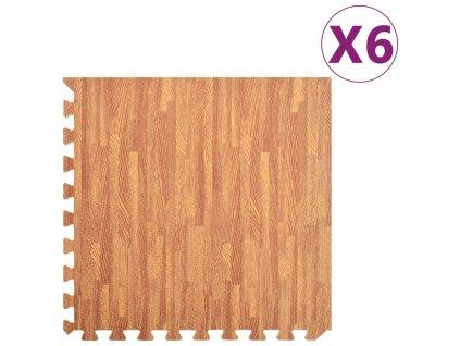 Podložky na cvičení 6 ks kresba dřeva 2,16 ㎡ EVA pěna