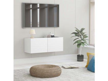 TV stolek bílý 80 x 30 x 30 cm dřevotříska