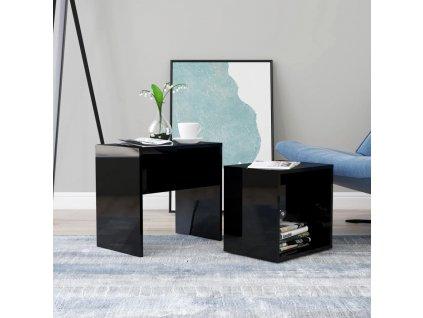 Set konferenčních stolků černý vysoký lesk 48x30x45 dřevotříska