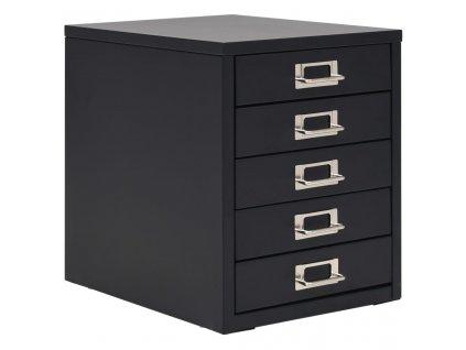 Kancelářská skříň s 5 zásuvkami 28 x 35 x 35 cm kovová černá