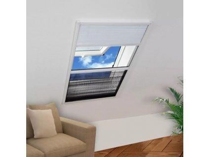 Plisovaná okenní síť proti hmyzu se zástěnou, hliník, 80x120 cm