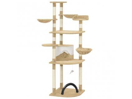 Škrabadlo pro kočky se sisalovými sloupky béžové 190 cm