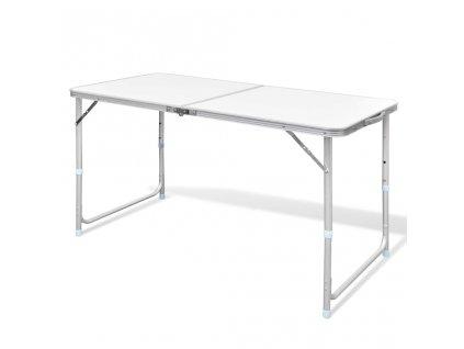 Skládací kempingový stůl s nastavitelnou výškou, hliníkový 120 x 60 cm