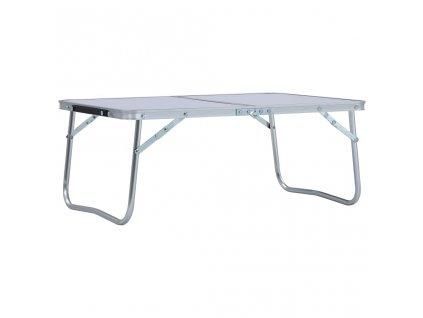 Skládací kempingový stůl bílý hliník 60 x 40 cm