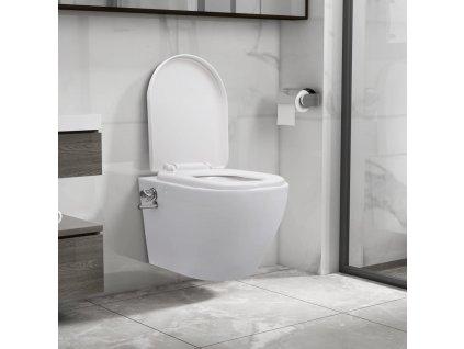 Závěsné WC bez oplachového kruhu s funkcí bidetu keramické bílé