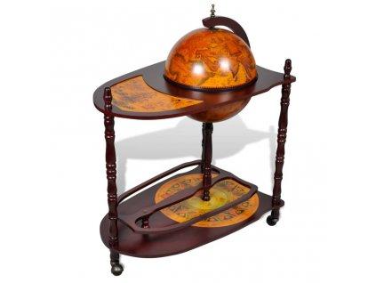 Globus bar stojan na víno eukalyptové dřevo volně stojící