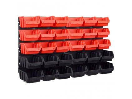 32dílný set skladovacích zásobníků nástěnné panely červenočerný