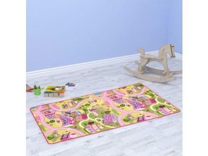 Hrací koberec smyčkový vlas 80 x 120 cm vzor Sladké městečko