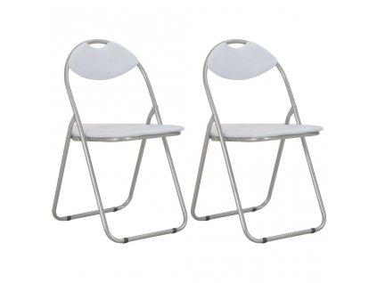 Skládací jídelní židle 2 ks bílé umělá kůže