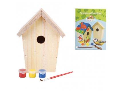Esschert Design DIY ptačí budka a barvy 14,8x11,7x20 cm KG145