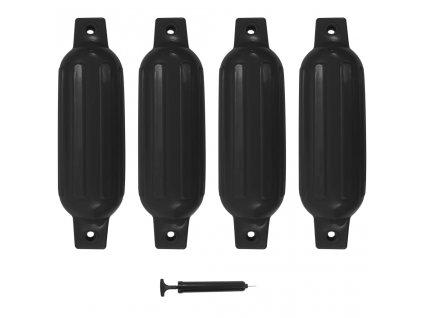 Lodní fender 4 ks černý 41 x 11,5 cm PVC