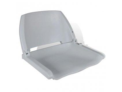Šedé sklopné sedadlo na člun s opěradlem bez polštáře 41x51x48cm
