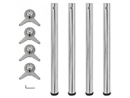 4 stolové nohy s nastavitelnou výškou chromované, 710 mm