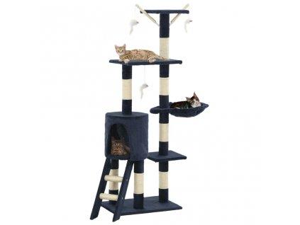Škrabadlo pro kočky se sisalovými sloupky 138 cm tmavě modré