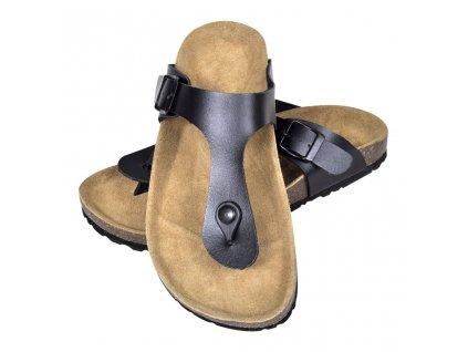 Dámské bio korkové sandály design žabky černé velikost 36