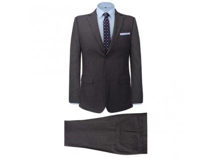 Pánský dvoudílný business oblek šedý proužek vel. 46
