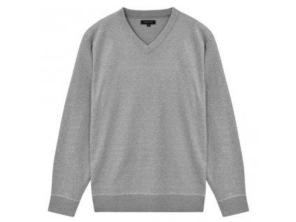 Pánský svetr s výstřihem do V šedý vel. M