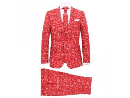 2dílný pánský vánoční oblek a kravata velikost 50 dárky červený