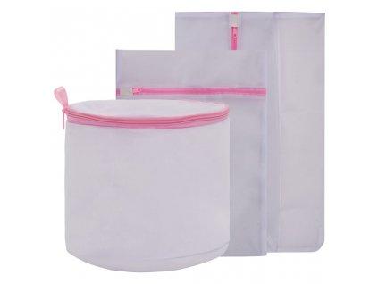 3dílná sada vaků na prádlo do pračky bílá a růžová