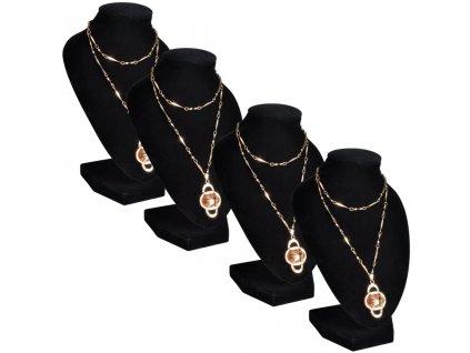 Flanelový stojan na náhrdelníky a řetízky černý, 9 x 8,5 x 15 cm, 4 ks