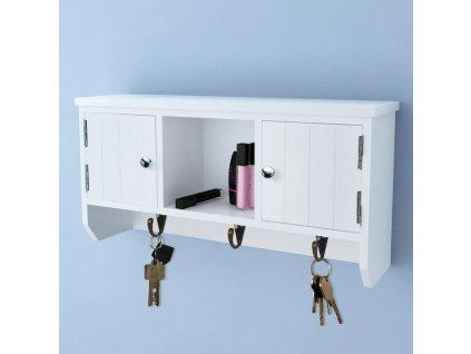 Nástěnná skříňka na klíče a šperky s dvířky a háčky