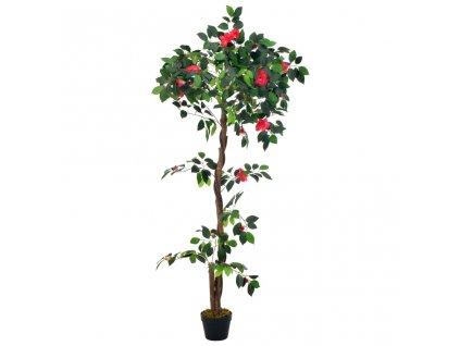 Umělá rostlina kamélie s květináčem zelená 160 cm