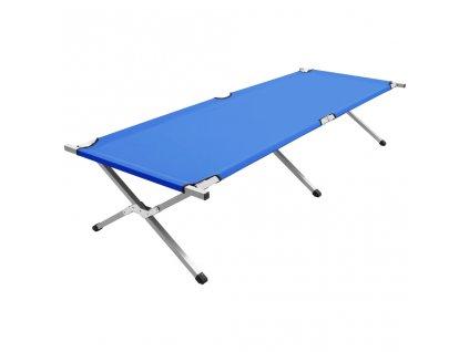 Kempingová postel 210 x 80 x 48 cm XXL modrá